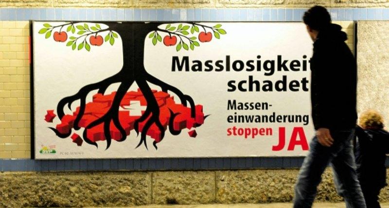 kureren sveitserne stemmer for mindre innvandring og